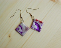 Red, purple white pearl & polymer clay earrings