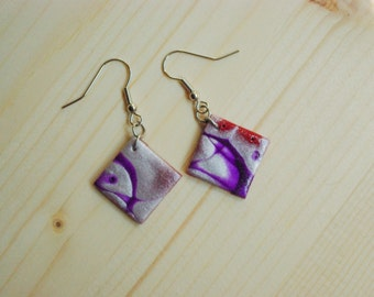 Red, purple & white pearl polymer clay earrings