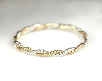 Sterling Silver and Gold Ring, Twist Ring, Stacking Ring Rope Ring Delicate Ring