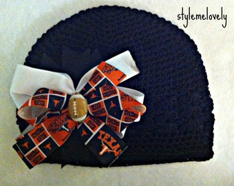 Texas Longhorn Baby Girl Boutique Bow Crocheted Headband