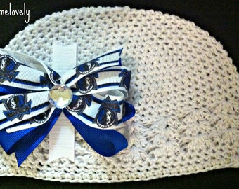 Dallas Mavericks Baby Girl Boutique Bow Crocheted Hat