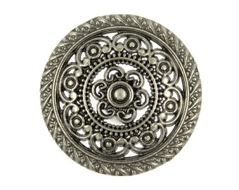 Metal Buttons - Metal Lacework Filigree Nickel Silver Metal Shank Buttons - 30mm - 1 3/16 inch - 6 pcs