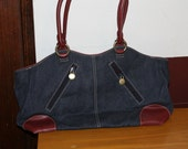 Gloria Vanderbilt, Authentic, Blue Jean with Leather Trim