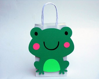 Frog Favor Bags, Frog Goody Bags, Frog Birthday Party Bags