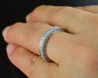 Three Sided Pave Wedding Band, 3/4 Eternity Band with Milgrain Edges with Vintage Flare, Anna B