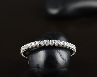 Ariel - Diamond Eternity Band Wedding Ring, Round Brilliant Cut Diamonds, 1.9mm Wide, Shared Prong, Classic Design, Free Shipping
