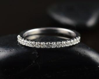 Petite Ariel - Diamond Wedding Band, Round Brilliant Cut Diamonds, 1.7mm Wide, Shared Prong 1/2 Eternity, Classic Design, Free Shipping