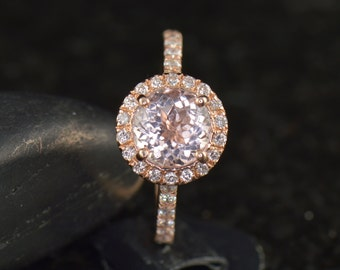 Mia - Morganite and Diamond Engagement Ring in Rose Gold, Round Brilliant Cut, Diamond Halo and Prong Set Band, Fit Flush, Free Shipping