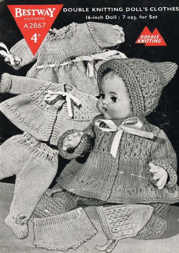 Vintage Dolls Knitting Patterns : Vintage Knitting Pattern to knit dolls outfit. by ...