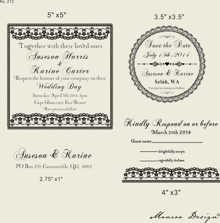 Wedding Invitation Rubber Stamps: DIY Wedding Invitation Rubber Stamp SET With By Mancoostamp