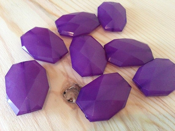 ROYAL Purple- 34x24mm Large Translucent Faceted Acrylic Flat Nugget Polygon Beads - 10 pcs