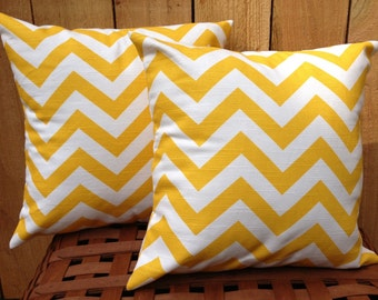 Yellow and White Chevron Zig Zag Fall Decorative Throw Pillow Cushion Cover