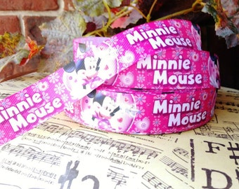 3 Yards 1' Minnie Mouse Printed  Grosgrain Ribbon