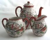 Antique Japanese Meiji period Kutani hand coloured porcelain tea set ** teapot + sugar bowl + creamer - Japanese tea set - Kutani porcelain