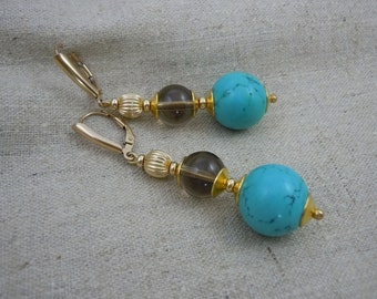 Earring glamour in Aegean hues of turquoise howlite, smokey quartz & gold