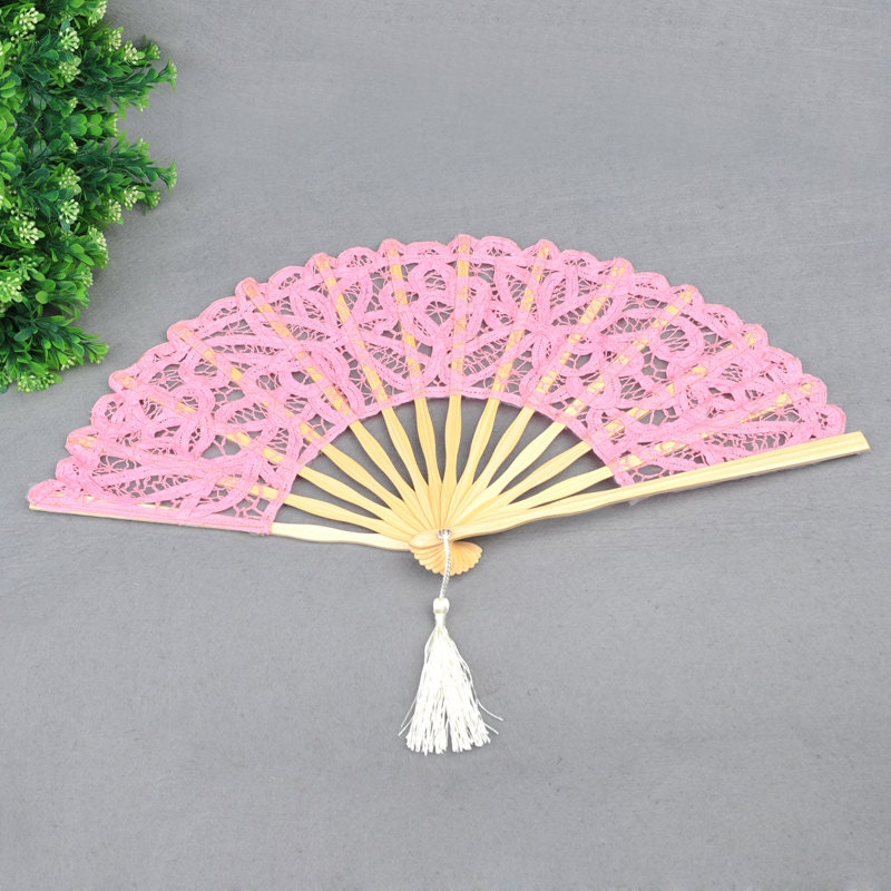 Pink Handmade Cotton Lace Hand Fan For Wedding Party ,