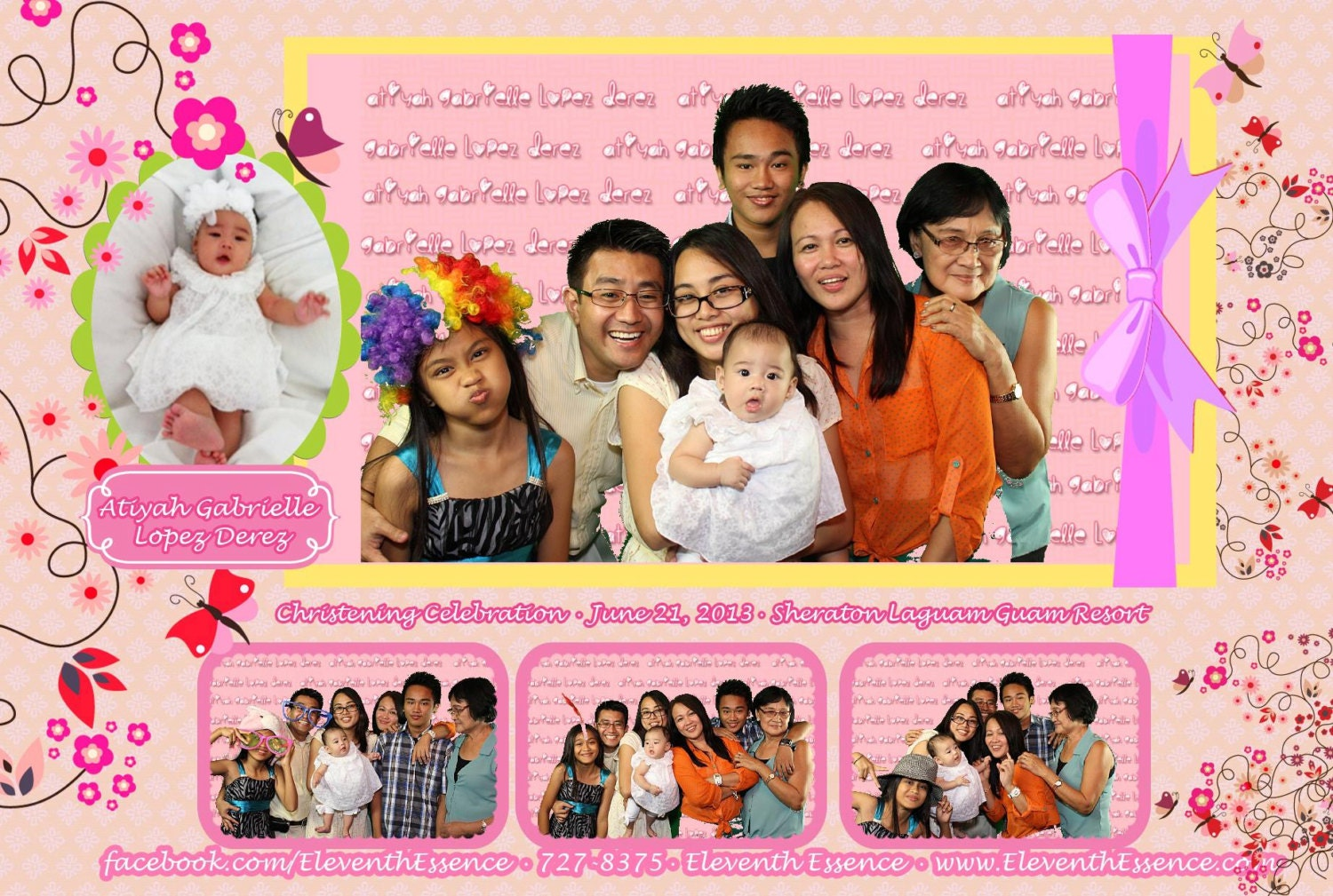 4x6 photo booth template for Christening Birthday or other