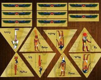 Printable Bookmark Instant Download - Ancient Egypt Gods and Egypt Pyramid - Set of 8