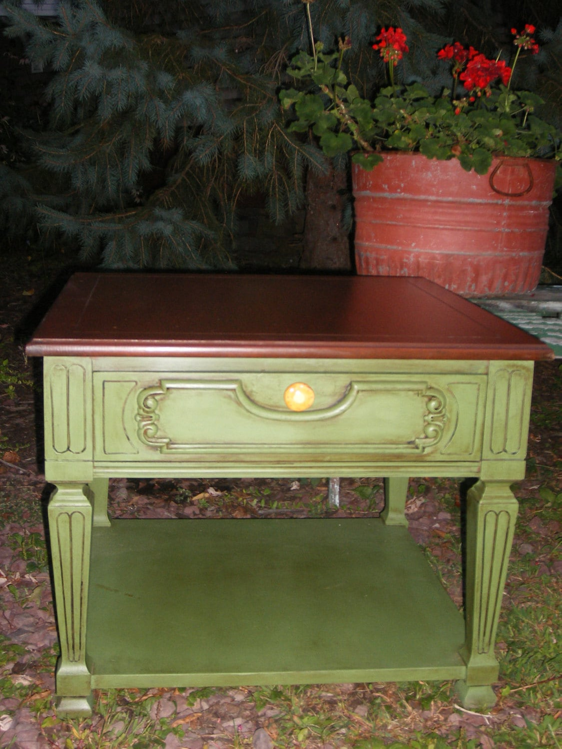 Sage Green Chalk Painted Distressed Side Table