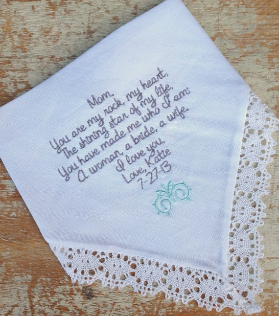 Embroidered wedding handkerchief monogrammed custom mom from