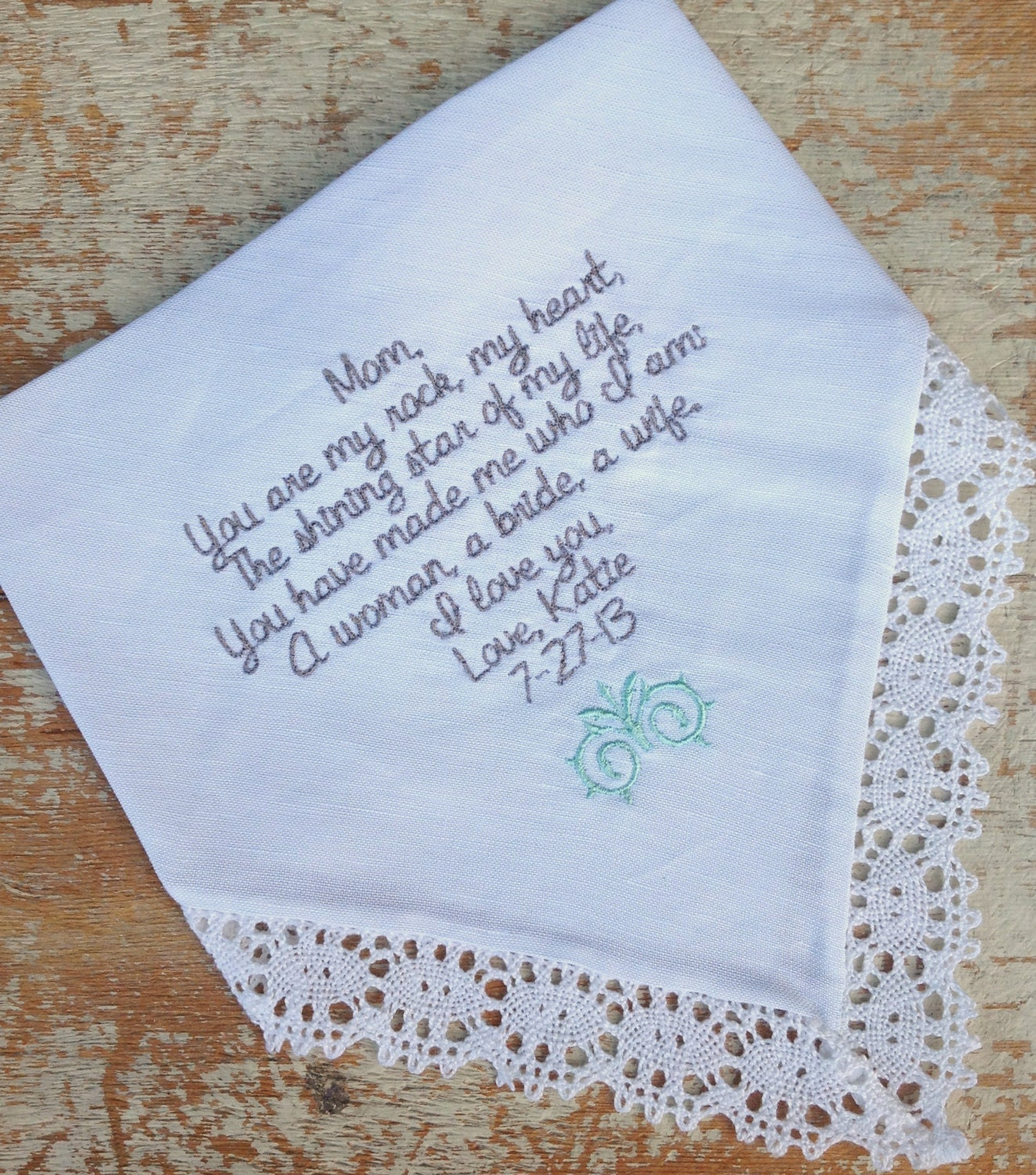 Mom From Bride Wedding Heirloom Handkerchief Custom Embroidered Personalized