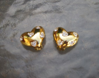 Gold and clear rhinestone heart clip earrings by Nolan Miller - estate jewelry