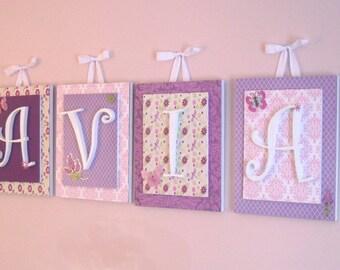 Nursery letters, Lambs and Ivy, Purple Nursery Letters, Butterfly Nursery, Girls Wall Letters, Wooden Letters, Hanging Wall Letters, Letters