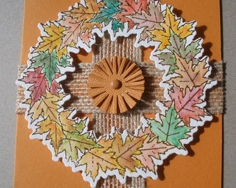 Handmade Fall card with watercolored leaf wreath