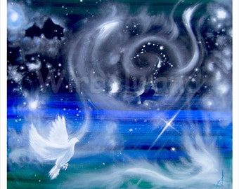 Print of an acrylic and oil painting - Starry Mist (28 x 24 inch) Original colours