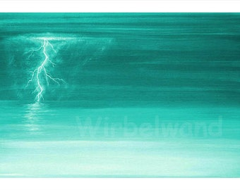 Print of an acrylic painting - Thunder and Lightning at the Sea (17 x 12 inch) Colour variation Mint