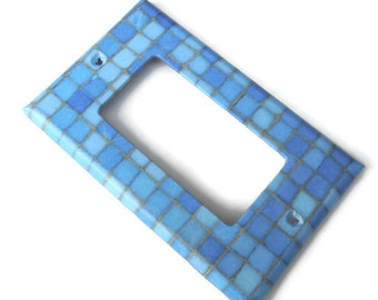 Blue Tiles Light Switch Plate, Outlet Cover, Blue Rocker Switch Plate