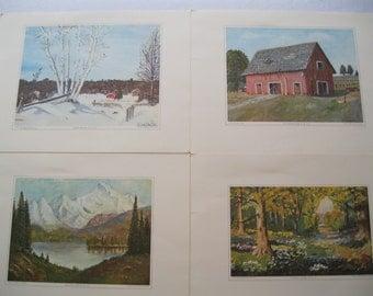 Set of Four Art Prints by Dwight Eisenhour