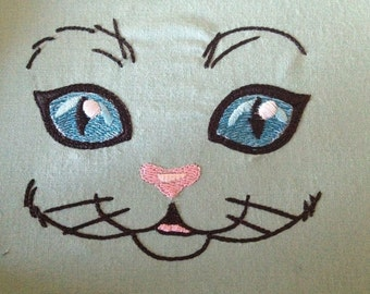 Cat Face embroidery design 4x4 hoop size