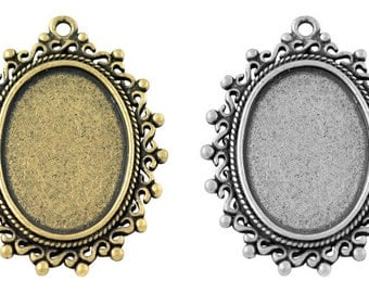 2 x Antique Bronze or Silver Cabochon Settings Charms - TS157 - TS282 - 38mm x 30mm
