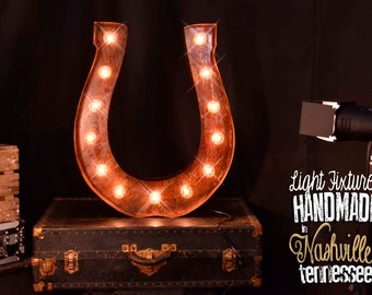 Marquee Horseshoe, Marquee letter, Lighted Metal MARQUEE SIGN, Marquee Letter, Marquee Light Fixture: Horseshoe