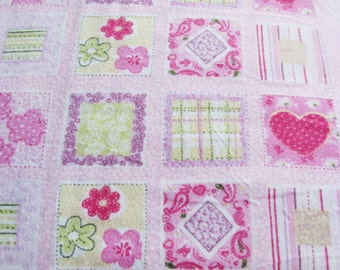 Pink Flannel Hearts Fabric