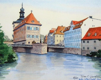 Bamberg, Germany - Watercolor Limited ed. print signed & numbered - European travel, art, painting
