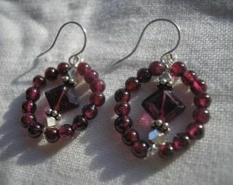 Garnet and sterling silver earrings (ornate)