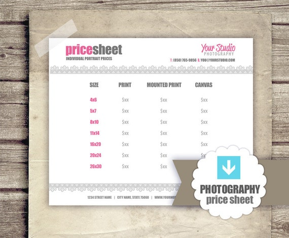 photography price list pricing sheet for photographers. Black Bedroom Furniture Sets. Home Design Ideas
