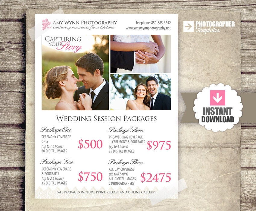 Wedding Photography Price List Session Packages Pricing – Wedding Price List