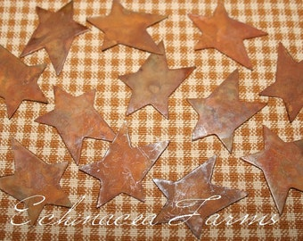 12 Primitive Flat Rusty Tin Stars - 1 inch -  Set of 12 - Craft Supply Country Cottage Farmhouse Lodge Ornie Ornament Christmas