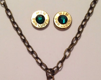 9mm bullet ammo jewelry birthstone necklace earrings May Emerald Birthstone