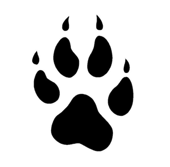 items similar to canine paw print 3 quot  decal on etsy Bear Silhouette Clip Art Claw Marks Clip Art