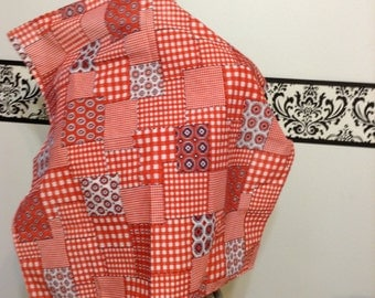 Red and White Block  1950's Bandana by Glentex