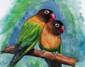 Parrot. Original Painting, Watercolor, Handpainted,  7,6 x11,6 inch. NOT a print.  bird,nature,brown,green, blue