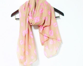 Taupe Lip Scarf Pink Lip Scarf Taupe Brown Scarf