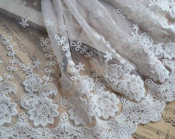 2 Yards Lace Trim White Gauze Soft Lace Fabric Embroidery DIY Handmade 7.87'' width