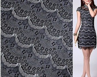 "Lace Fabric Black Eyelash Soft Wedding Fabric DIY Handmade 59"" width 1 yard"