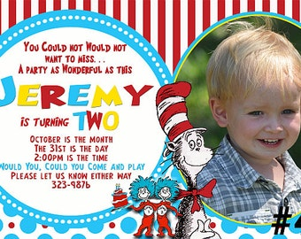 Cat in the Hat Birthday Party Invitation with Photo  Dr. Seuss You Print  Printable Digital File Birthday Party Invitation