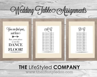 Elegant Wedding Table Assignments, Table listings, Digital Table Numbers, Wedding Table Listing, Alphabetical Wedding Seating Assignments